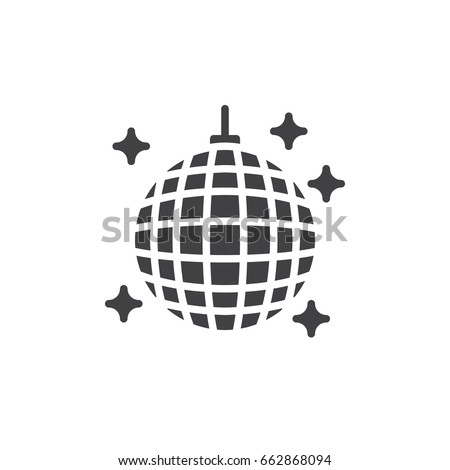 Disco ball icon vector, filled flat sign, solid pictogram isolated on white. Night club symbol, logo illustration. Pixel perfect