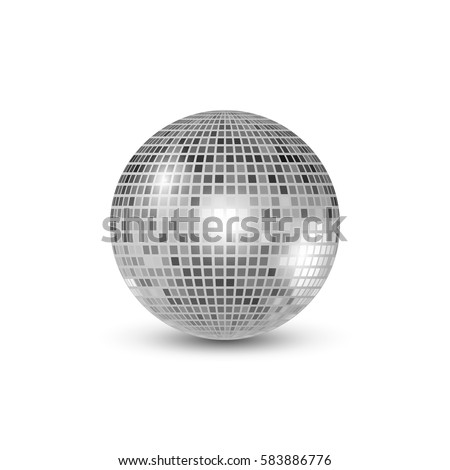 Disco ball isolated illustration. Night Club party light element. Bright mirror silver ball design for disco dance club
