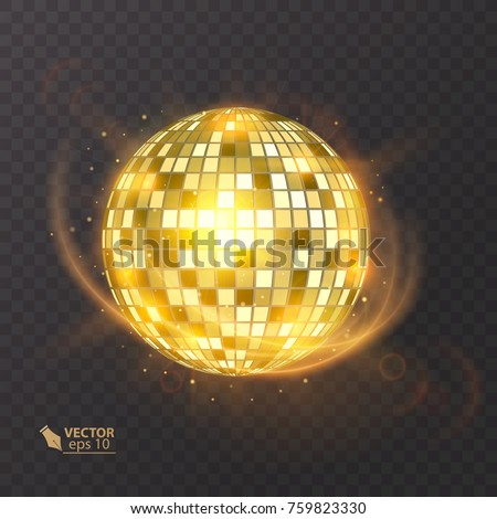 Disco ball on isolated background. Night Club party light element. Bright mirror ball design for disco dance club. Vector eps 10