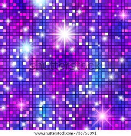 Disco ball party pattern, shining and gleaming squama mosaic texture for celebration banners, glamorous presentations, club style posters, events. Cabaret background.