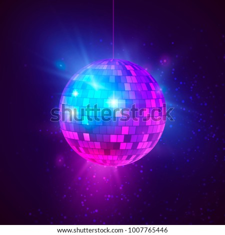 Disco ball with bright rays and bokeh. Music and dance night party background. Abstract night club retro background 80s and 90s. Vector illustration 商業照片 ©