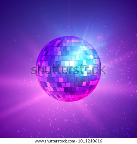Disco ball with bright rays. Music and dance night party background. Abstract night club retro background 80s and 90s. Vector illustration on dark background