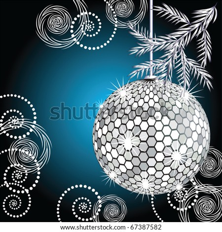 Disco ball with silver fur tree
