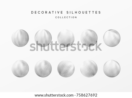 Disco balls or round baubles silver color. Vector illustration.