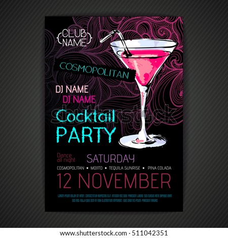 Shutterstock Disco cocktail party poster