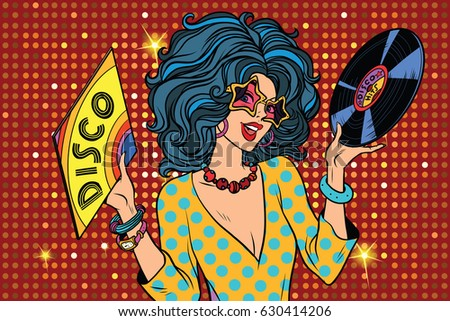 Disco diva retro lady. Pop art vector illustration. Girl with a vinyl record