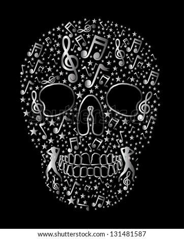 disco girls music silver skull