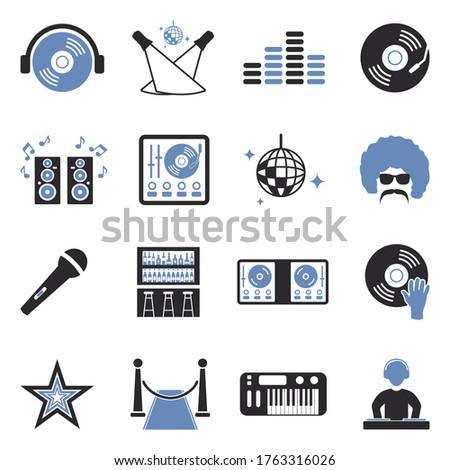disco icons two tone flat