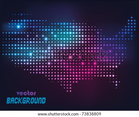 Disco light map of america, Vector illustration. - stock vector