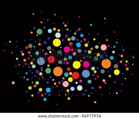 disco lights dots pattern on black background, Vector illustration