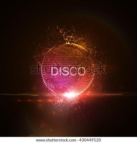 disco neon sign 3d illuminated