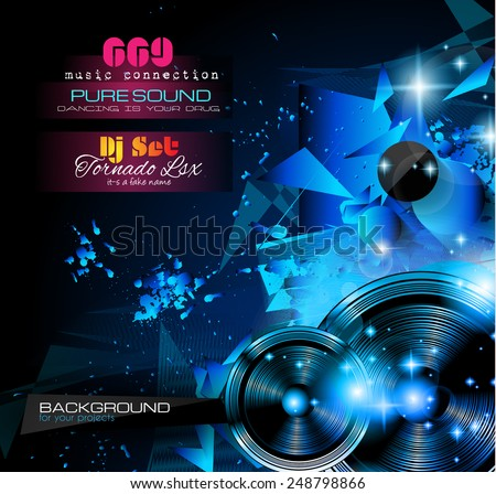 Disco Night Club Flyer Layout With Music Themed Elements To Use For Event  Poster, Club  Club Flyer Background