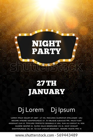 Disco night party poster template. Gold and black vector flyer