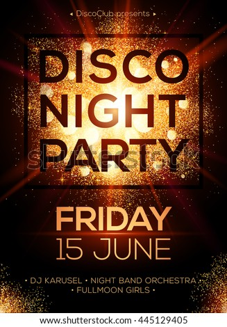disco night party vector poster