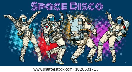 disco party astronauts dancing