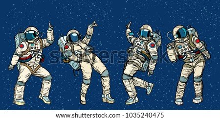 Disco party astronauts dancing men and women. Pop art retro comic book vector cartoon hand drawn illustration