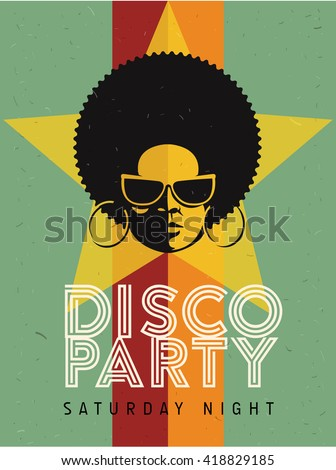 Disco party event flyer. Creative vintage poster. Vector retro style template. Black woman in sunglasses