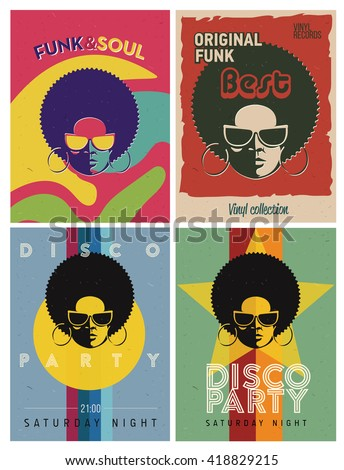 disco party event flyers set