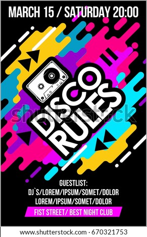 Disco Rules music poster, music banner or flyer with cassette trendy colorful neon design cool elements & lettering composition