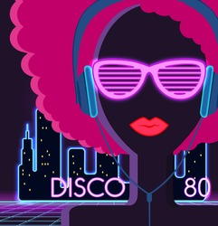 Disco 80's. Girl with headphones. Party and dance, dj and club, disco party, disco background, disco lights,  music and retro sound audio, poster vintage illustration