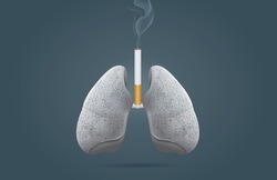 Discoloration on lung because cancer cell happen at lung from smoking. This illustration is medical and health care concept.