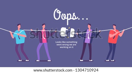 DISCONNECT PLUG CONCEPT. Angry people unplug connection. Error 404 page not found vector web design Photo stock ©