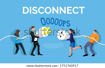 Disconnect plug concept. People holding unplugged cable. Error 404 page not found vector illustration. Trouble of internet connection and disconnect problem page. Digital detox and offline banner Foto stock ©