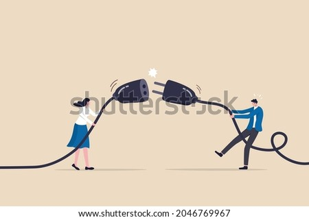 Disconnected business, broken communication, 404 or disconnect from social media distraction or monitor screen, young man and young adult woman pull electric socket plug to disconnect from internet. Photo stock ©