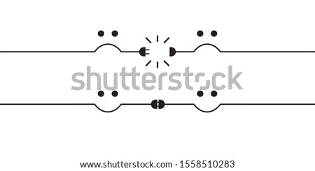Disconnected electric wire or wireless wifi signal illustration with sad face. Internet disconnection, wi fi loss. And connected plug with happy face. Unplugged, broken connector. Vector illustration. Foto stock ©