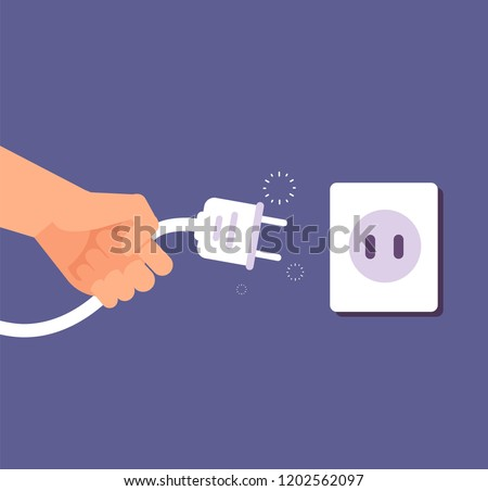 Disconnected plug. Connection or disconnection of electricity with wire plug and socket. 404 error, page not found vector concept. Electric disconnect wire, electricity socket and plug illustration Foto stock ©