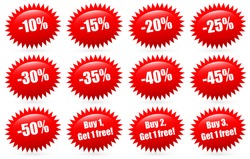Discount badges and Buy 1, buy 2, buy 3... Get 1 free labels, flash shapes