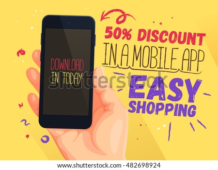 Discount banner for mobile app. Easy shopping. Discount banner design, website sale, poster design for print or web, media, promotional material.