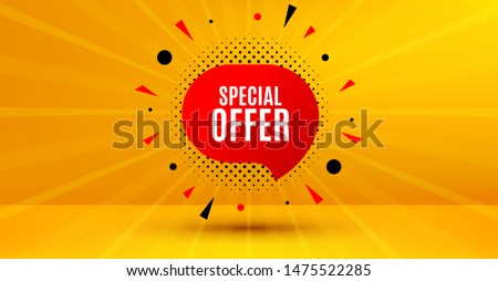 Discount banner shape. Special offer badge. Sale coupon bubble icon. Abstract yellow background. Modern concept design. Banner with offer badge. Vector
