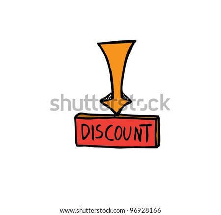 discount banner with arrow with color - vector illustration - stock vector