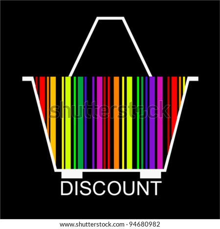 DISCOUNT bar code Shopping basket, vector