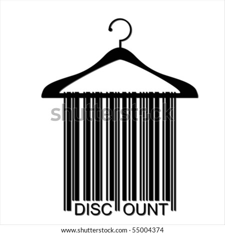 DISCOUNT barcode clothes hanger isolated on white, vector