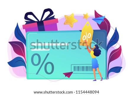 Discount card with percent sign and woman with discount tag. Loyalty program and customer service, retail and rewards card, loyalty points card concept, violet palette. Vector isolated illustration. Photo stock ©