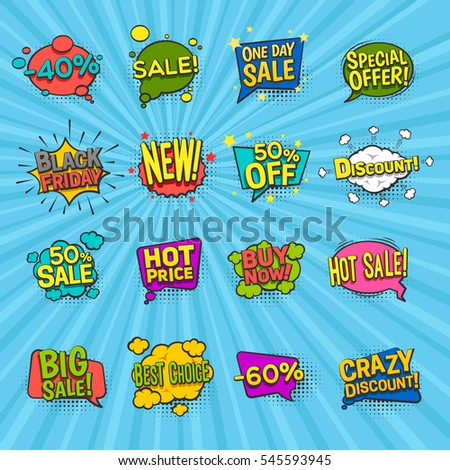 Discount comic icons set with special offer symbols on blue background flat isolated vector illustration #545593945