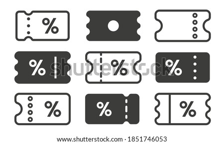 Discount coupon icon set. Black  signs of ticket with percent sign. Money-saving shopping concept vector illustration