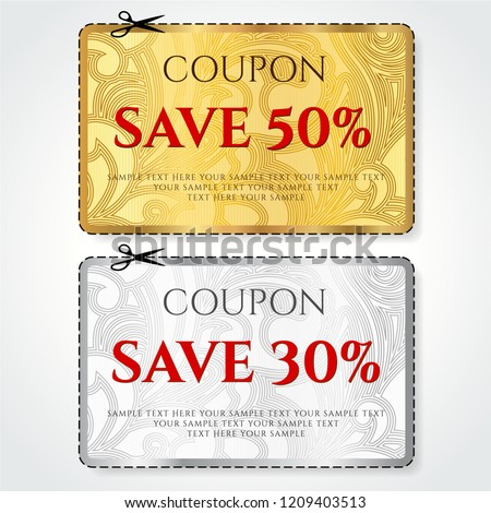 Discount Coupon, Voucher vector. Background template with gold, silver background, modern floral pattern. Save money tag 50 off, 30 off. Promo voucher design, Gift card