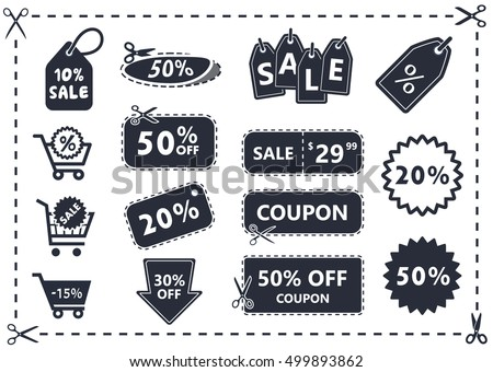 discount coupons set, discount icons, shopping icons, offer price