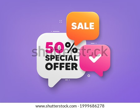 Discount 3d banner shape tags. Special offer speech bubbles. Sale coupon price tag icon. Ribbon banner with 50 percent discount offer. Sale price sticker message. Promotion dialog balloon. Vector