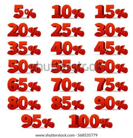 Discount 3d numbers vectors set. 10 off and 50 off percent discount store signs.