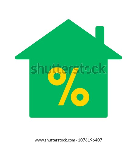 Discount home illustration - house percentage sign price - real estate home - money loan symbol;