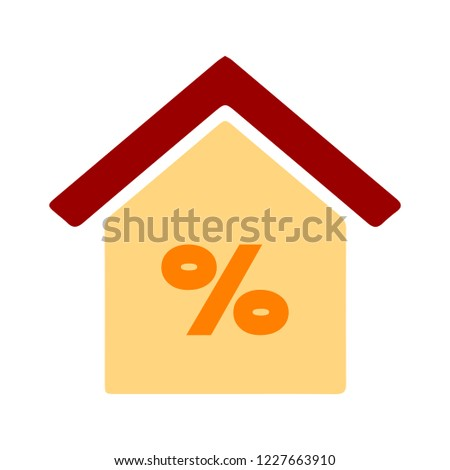 Discount home illustration - house percentage sign price - real estate home - money loan symbol