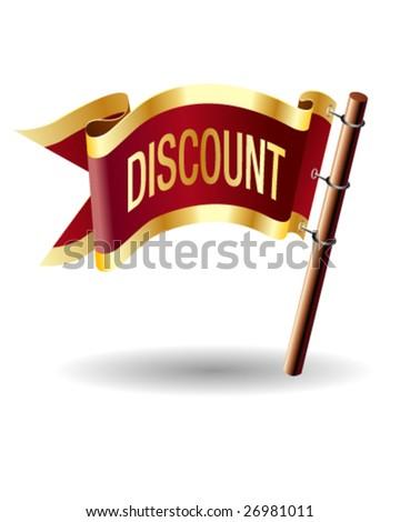 Discount icon on royal flag button