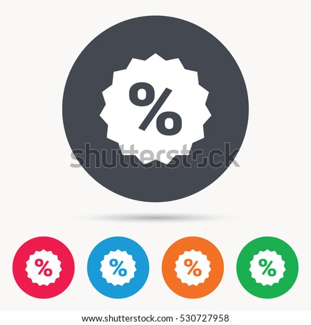 Discount icon. Sale offer star symbol. Colored circle buttons with flat web icon. Vector
