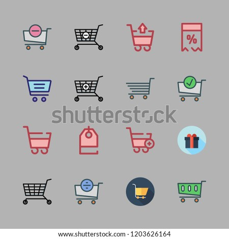 discount icon set. vector set about supermarket gift, shopping cart, price tag and carts icons set.