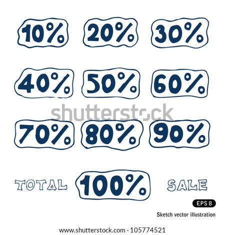 Discount icons set. Hand drawn sketch illustration isolated on white background