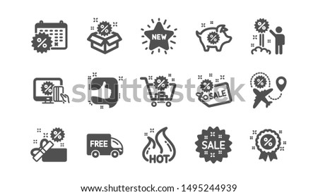 Discount icons. Shopping, Sale and New. Hot offer classic icon set. Quality set. Vector